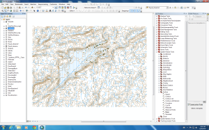Here is a screen shot of some of the work I was working on. The contours were produced from my DEM of the area and the blue stream network from the Hydrology Toolset in Spatial Analyst. You can see the steep slopes around the lake, which makes for interesting collection methods to get my lichens off the rock!