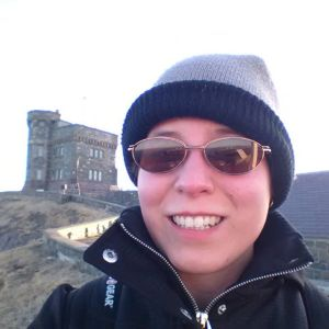 This is me on top of Signal Hill. Coming from flat Manitoba, the climb up the Battery Trail was quite something! Also, still not used to the cold, hence the toque!